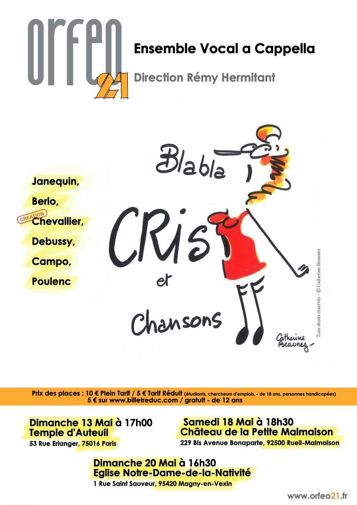 Affiche Blabla, Cris & Chansons